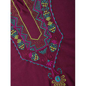 Plus Size Embroidered Criss Cross Swimsuit - WINE RED 4XL
