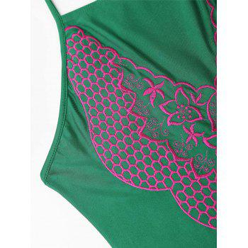 Embroidered Plus Size Lace Up Swimsuit - GREEN GREEN
