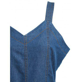 Sleeveless Denim Wide Leg Jumpsuit - BLUE XL