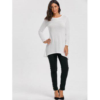 High Low Buttoned Tunic Sweater - WHITE WHITE