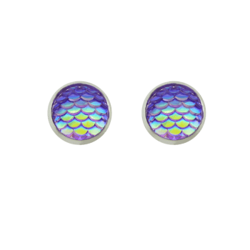Round Tiny Mermaid Scales Stud Earrings - PURPLE
