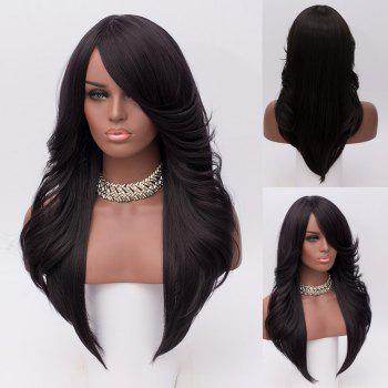 Long Oblique Bang Feathered Straight Synthetic Wig - BLACK BLACK