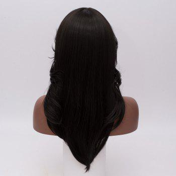 Long Oblique Bang Feathered Straight Synthetic Wig -  BLACK