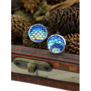 Round Tiny Mermaid Scales Stud Earrings - Bleu