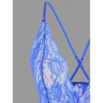 Plunge Lace Crossback Teddy - BLUE BLUE