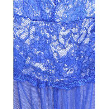 Plunge Lace Crossback Teddy - BLUE M