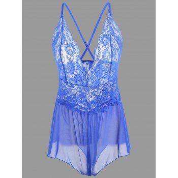 Plunge Lace Crossback Teddy - BLUE S