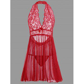 Plunge Lace Open Back Babydoll - RED L