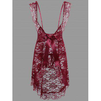 Lace Plunge Ruffles Babydoll - PURPLISH RED C5 L