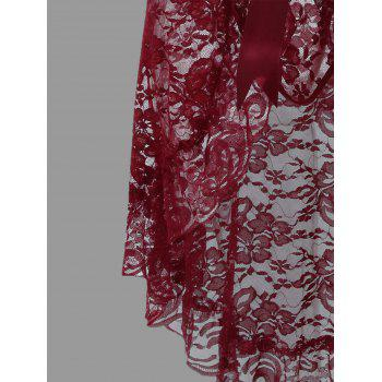 Lace Plunge Ruffles Babydoll - PURPLISH RED C  PURPLISH RED C