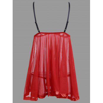 Mesh Slip See Through Babydoll - RED XL