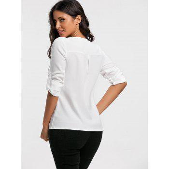 V Neck Lace Up Long Sleeve Blouse - WHITE L