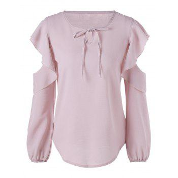 Cold Shoulder Flounced Chiffon Blouse - PINK PINK