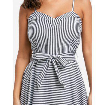 High Low Striped Slip Dress with Belt - S S