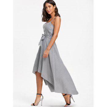 High Low Striped Slip Dress with Belt - STRIPE M