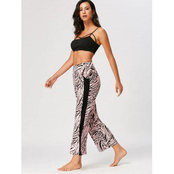 Casual High Waist Tiger Stripe Ninth Pants - COLORMIX S