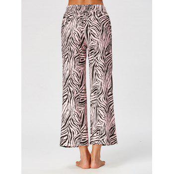 Casual High Waist Tiger Stripe Ninth Pants - COLORMIX L
