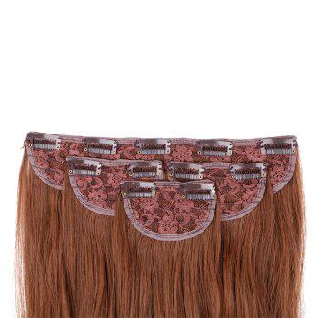 4Pcs/Lot Clip In Long Wavy Synthetic Hair Extensions - LIGHT BROWN