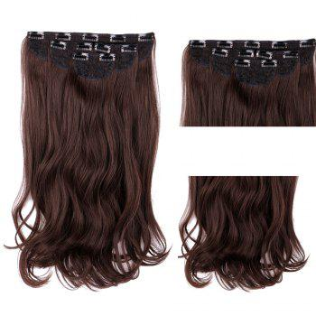 4Pcs/Lot Clip In Long Wavy Synthetic Hair Extensions - BROWN BROWN