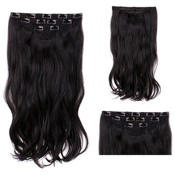 4Pcs/Lot Clip In Long Wavy Synthetic Hair Extensions - BLACK BLACK
