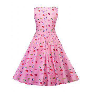 Vintage Macarons Print Pin Up Skater Dress - PINK L