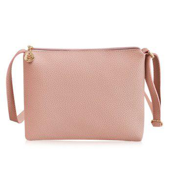 Faux Leather Crossbody Bag - PINK PINK