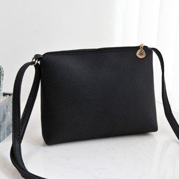 Faux Leather Crossbody Bag - BLACK