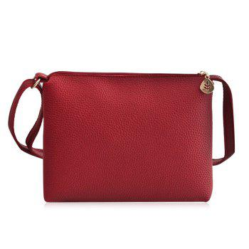 Faux Leather Crossbody Bag - RED RED