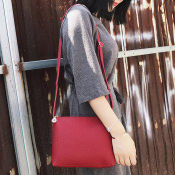 Faux Leather Crossbody Bag -  RED