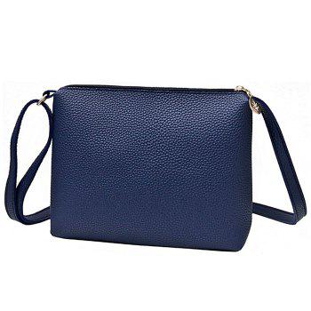 Faux Leather Crossbody Bag - BLUE
