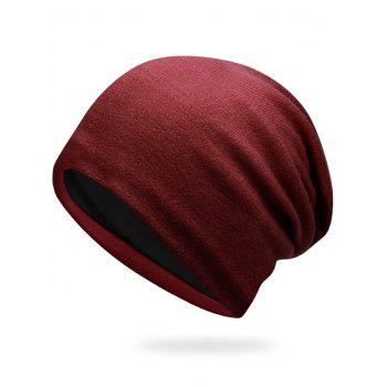 Autumn Plain Knit Hat - DARK RED DARK RED