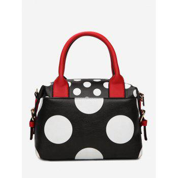 Polka Dot Faux Leather Totes - BLACK BLACK