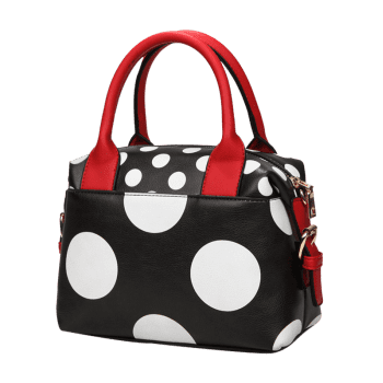 Polka Dot Faux Leather Totes -  BLACK