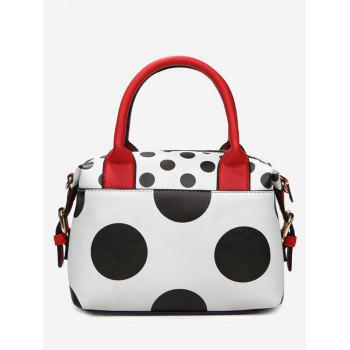 Polka Dot Faux Leather Totes - WHITE WHITE