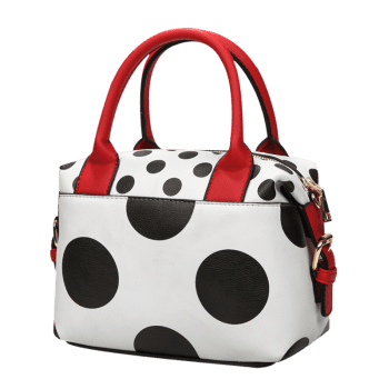 Polka Dot Faux Leather Totes -  WHITE