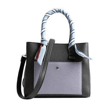 Ribbon Color Block Tote Bag -  GREEN