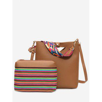 Rainbow Striped Hollow Out Crossbody Bag Set - BROWN BROWN