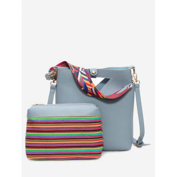 Rainbow Striped Hollow Out Crossbody Bag Set - BLUE BLUE