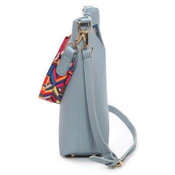 Rainbow Striped Hollow Out Crossbody Bag Set -  BLUE