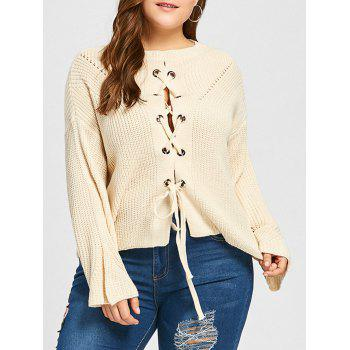 Plus Size Lace Up Drop Shoulder Chunky Sweater - OFF-WHITE ONE SIZE