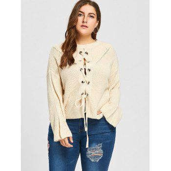 Plus Size Lace Up Drop Shoulder Chunky Sweater - OFF WHITE ONE SIZE