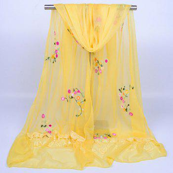 Flower Vine Shape Woolen Yarn Panel Lace Tassel Scarf -  YELLOW