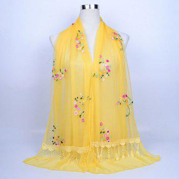 Flower Vine Shape Woolen Yarn Panel Lace Tassel Scarf - YELLOW YELLOW