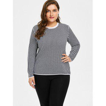 Plus Size Checked Knitwear - BLACK BLACK