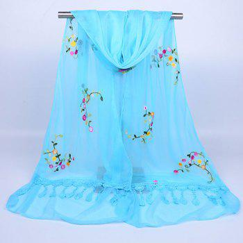 Flower Vine Shape Woolen Yarn Panel Lace Tassel Scarf - AZURE