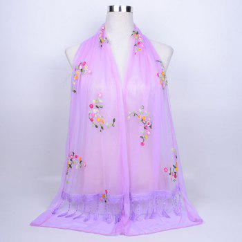 Flower Vine Shape Woolen Yarn Panel Lace Tassel Scarf - LIGHT PURPLE LIGHT PURPLE