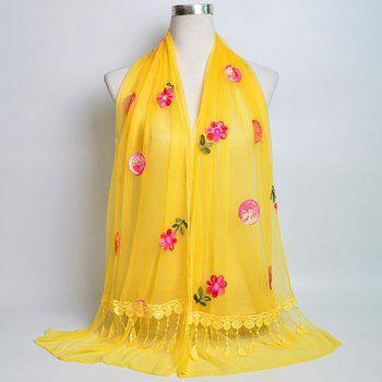 Flower Embroidered Tassel Lace Panel Shawl Scarf - YELLOW YELLOW