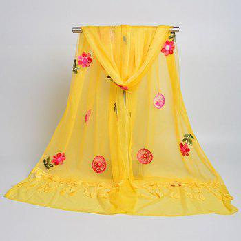 Flower Embroidered Tassel Lace Panel Shawl Scarf -  YELLOW