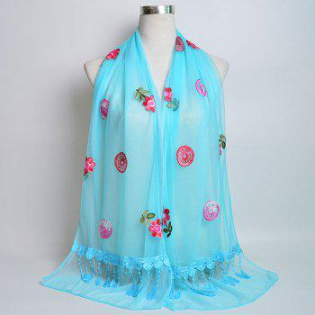 Flower Embroidered Tassel Lace Panel Shawl Scarf - AZURE AZURE