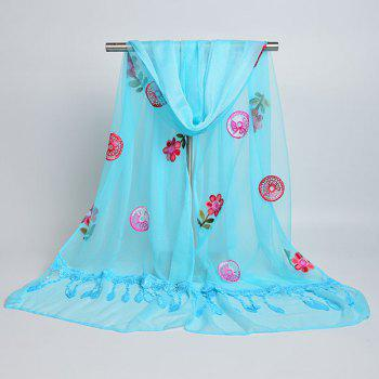 Flower Embroidered Tassel Lace Panel Shawl Scarf - AZURE
